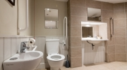 Accessible bathroom with luxury tiles