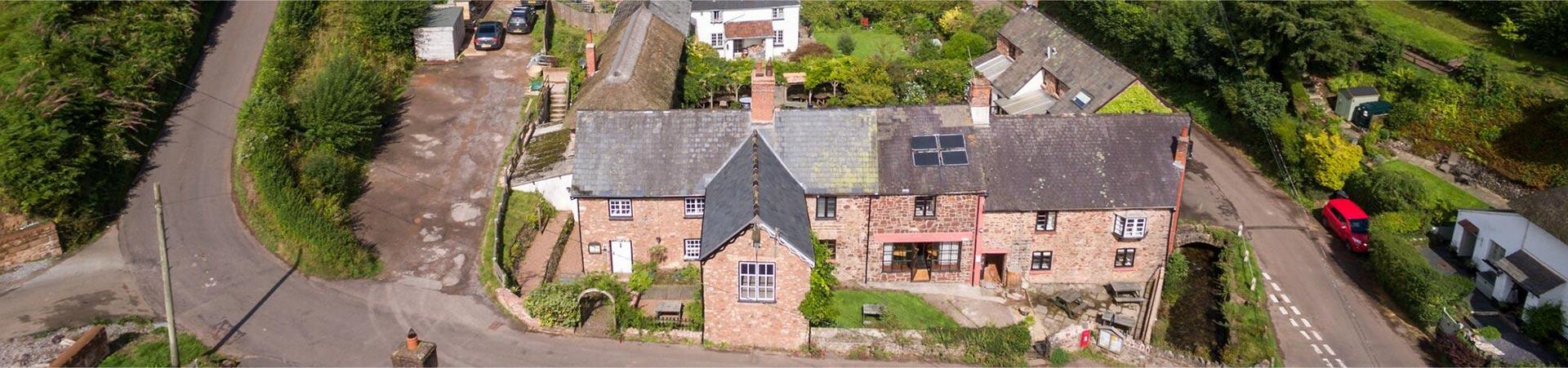 The Royal Oak inn aerial view over Luxborough